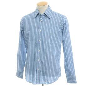 【新品】バグッタ Bagutta ストライプ柄 コットン レギュラーカラーシャツ ブルー×ホワイト【サイズ38】【BLU】【S/S/A/W】【状態ランクN】【メンズ】【10602-955758】[2110BPD]