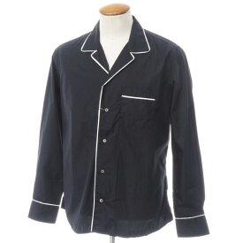 【新品】バグッタ Bagutta コットン オープンカラーパジャマシャツ ブラック×ホワイト【サイズM】【BLK】【S/S/A/W】【状態ランクN】【メンズ】【10602-955756】