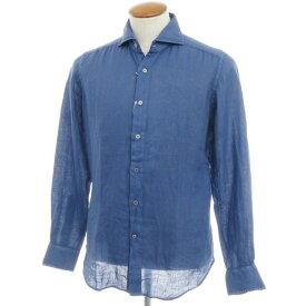 【新品】バグッタ Bagutta リネン ワイドカラーシャツ ダークブルー【サイズ39】【BLU】【S/S】【状態ランクN】【メンズ】【10602-955746】