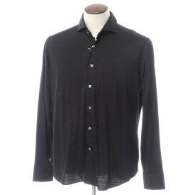 【新品】バグッタ Bagutta ウール天竺 ホリゾンタルカラー カジュアルシャツ ブラック【サイズ42】【BLK】【A/W】【状態ランクN】【メンズ】【10602-955735】