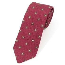 【新品】ステファノ ビジ stefano bigi 小紋柄 シルク 3つ折り ネクタイ ボルドー×グリーン【RED】【S/S/A/W】【状態ランクN】【メンズ】【11005-955735】[2110BPD]