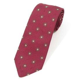【新品】ステファノ ビジ stefano bigi 小紋柄 シルク 3つ折り ネクタイ ボルドー×グリーン【RED】【S/S/A/W】【状態ランクN】【メンズ】【11005-955736】[2110BPD]