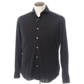 【新品】バグッタ Bagutta ウール天竺 ホリゾンタルカラー カジュアルシャツ ブラック【サイズ40】【BLK】【A/W】【状態ランクN】【メンズ】【10602-955733】[2110APD]