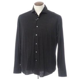 【新品】バグッタ Bagutta ウール天竺 ホリゾンタルカラー カジュアルシャツ ブラック【サイズ42】【BLK】【A/W】【状態ランクN】【メンズ】【10602-955730】[2110APD]