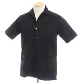 【新品】バグッタ Bagutta コットンツイル 半袖オープンカラーシャツ ブラック【サイズXS】【BLK】【S/S】【状態ランクN】【メンズ】【10603-955731】