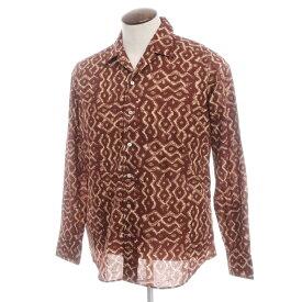 【新品】バグッタ Bagutta プリント コットン オープンカラーシャツ ブラウン×ベージュ【サイズ42】【BRW】【S/S/A/W】【状態ランクN】【メンズ】【10602-955729】