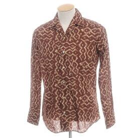 【新品】バグッタ Bagutta プリント コットン オープンカラーシャツ ブラウン×ベージュ【サイズ37】【BRW】【S/S/A/W】【状態ランクN】【メンズ】【10602-955727】[2110BPD]