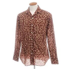 【新品】バグッタ Bagutta プリント コットン オープンカラーシャツ ブラウン×ベージュ【サイズ40】【BRW】【S/S/A/W】【状態ランクN】【メンズ】【10602-955728】[2110BPD]