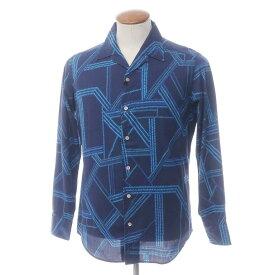 【新品】バグッタ Bagutta プリント コットンツイル オープンカラーシャツ ネイビー【サイズM】【NVY】【S/S/A/W】【状態ランクN】【メンズ】【10602-955724】[2110BPD]