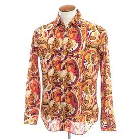 【新品】バグッタ Bagutta ペイズリー コットン カジュアルシャツ オーカー×ボルドー【サイズ39】【ORG】【S/S/A/W】【状態ランクN】【メンズ】【10602-955715】