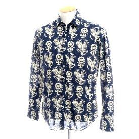 【新品】バグッタ Bagutta ボタニカル コットン セミワイドカラーシャツ ネイビー×ベージュ【サイズ37】【NVY】【S/S/A/W】【状態ランクN】【メンズ】【10602-955708】