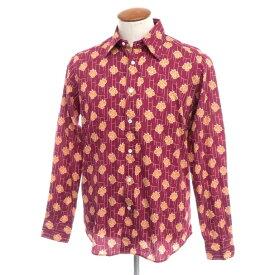 【新品アウトレット】バグッタ Bagutta コットン カジュアルシャツ ワイン×オレンジ【サイズ40】【RED】【S/S/A/W】【状態ランクN-】【メンズ】【10602-955708】[2110BPD]