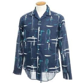 【新品】バグッタ Bagutta オープンカラーシャツ ネイビー×ホワイト×ブルーグリーン【サイズ39】【NVY】【S/S/A/W】【状態ランクN】【メンズ】【10602-955698】