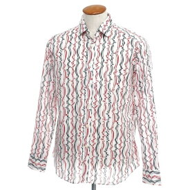 【新品】バグッタ Bagutta カジュアルシャツ ホワイト×ブラック×レッド【サイズ40】【WHT】【S/S/A/W】【状態ランクN】【メンズ】【10602-955697】[2110BPD]