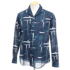 【新品】バグッタ Bagutta オープンカラーシャツ ネイビー×ホワイト×ブルーグリーン【サイズ38】【NVY】【S/S/A/W】【状態ランクN】【メンズ】【10602-955695】