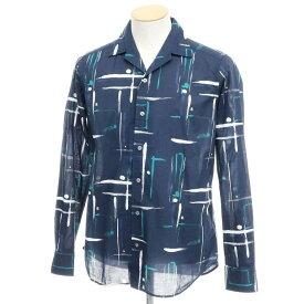 【新品】バグッタ Bagutta オープンカラーシャツ ネイビー×ホワイト×ブルーグリーン【サイズ38】【NVY】【S/S/A/W】【状態ランクN】【メンズ】【10602-955696】