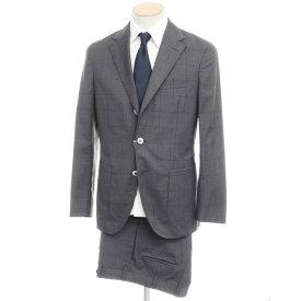 【中古】ボリオリ BOGLIOLI ウール ウィンドーペーン チェック 3つボタン スーツ グレー【サイズ44】【GRY】【S/S】【状態ランクC】【メンズ】【10402-955689】[2109APD]