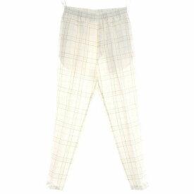 【新品】ヴィガーノ VIGANO リネンコットン チェック イージースラックス パンツ ホワイト×ベージュ【サイズ48】【WHT】【S/S】【状態ランクN】【メンズ】【10902-955686】[2109APD]