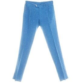 【新品】ベルベスト Belvest シルク コットン リネン カジュアルスラックス パンツ ブルー×ホワイト【サイズ48】【BLU】【S/S】【状態ランクN】【メンズ】【10902-955685】