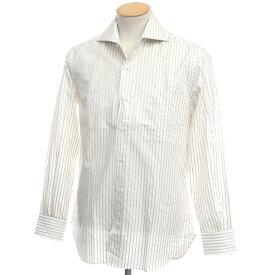 【新品アウトレット】オリアン ORIAN ストライプ コットン ワイドカラードレスシャツ ホワイト×オリーブ【サイズ38】【WHT】【S/S/A/W】【状態ランクN-】【メンズ】【10601-955682】