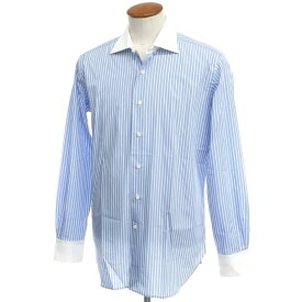 【新品アウトレット】オリアン ORIAN ストライプ コットン ワイドカラー クレリックシャツ ブルー×ホワイト【サイズ40】【BLU】【S/S/A/W】【状態ランクN-】【メンズ】【10601-955672】