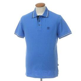 【中古】【未使用】ジャストカヴァリ JUST Cavalli コットン 鹿の子 半袖 ポロシャツ ブルー【サイズM】【BLU】【S/S】【状態ランクS】【メンズ】【10703-955663】[2109APD]