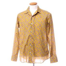 【新品アウトレット】バグッタ Bagutta コットン ダイヤプリント オープンカラーシャツ オーカー【サイズ40】【ORG】【S/S/A/W】【状態ランクN-】【メンズ】【10602-955656】[2110BPD]