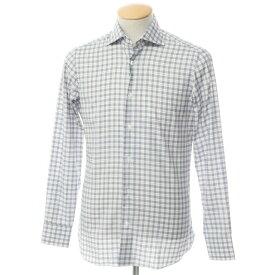 【新品】ボリエッロ BORRIELLO コットン ワイドカラー ドレスシャツ ホワイト×ネイビー【サイズ37】【WHT】【S/S/A/W】【状態ランクN】【メンズ】【10601-955622】[2109APD]