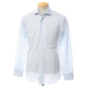 【新品】ボリエッロ BORRIELLO コットン ストライプ ワイドカラー ドレスシャツ ホワイト×サックス×ネイビー【サイズ38】【BLU】【S/S/A/W】【状態ランクN】【メンズ】【10601-955622】[2109APD]