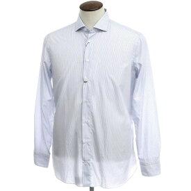 【新品】ボリエッロ BORRIELLO コットン ストライプ ドレスシャツ ホワイト×ブルー【サイズ42】【BLU】【S/S/A/W】【状態ランクN】【メンズ】【10601-955616】[2109APD]