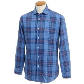 【新品】ボリエッロ BORRIELLO コットン チェック カジュアルシャツ ブルー系【サイズ40】【BLU】【S/S/A/W】【状態ランクN】【メンズ】【10602-955616】[2109APD]