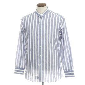 【新品】ボリエッロ BORRIELLO コットンリネン ストライプ バンドカラーシャツ ネイビー×ホワイト【サイズ41】【NVY】【S/S/A/W】【状態ランクN】【メンズ】【10602-955612】[2109APD]