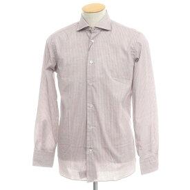 【新品】ボリエッロ BORRIELLO コットン プリント ワイドカラーシャツ ホワイト×ボルドー【サイズS】【RED】【S/S/A/W】【状態ランクN】【メンズ】【10602-955614】[2109APD]
