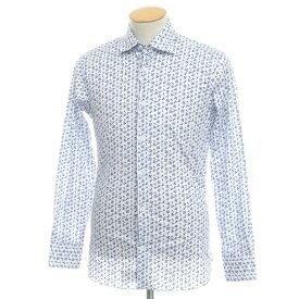 【新品】ボリエッロ BORRIELLO コットン 花柄 プリント セミワイドカラーシャツ ホワイト×ブルー【サイズ37】【BLU】【S/S/A/W】【状態ランクN】【メンズ】【10602-955612】[2109APD]