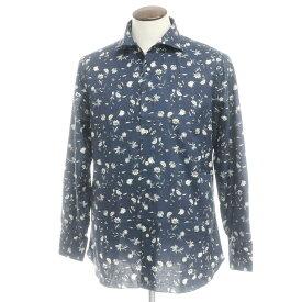 【新品アウトレット】ボリエッロ BORRIELLO コットン ボタニカル プリント ワイドカラーシャツ ネイビー【サイズ43】【NVY】【S/S/A/W】【状態ランクN-】【メンズ】【10602-955614】[2109APD]
