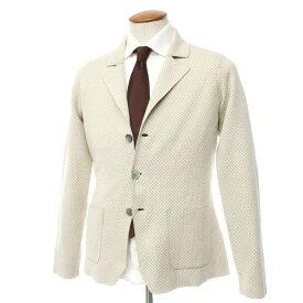 【中古】クルチアーニ Cruciani コットン 3つボタン ニットジャケット ベージュ×オフホワイト【サイズ48】【BEI】【A/W】【状態ランクA】【メンズ】【10199-955565】