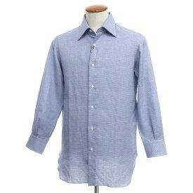 【中古】スティレ ラティーノ STILE LATINO コットンリネン ハウンドトゥース レギュラーカラー ドレスシャツ ブルー×ホワイト【サイズ40】【BLU】【S/S】【状態ランクA】【メンズ】【10601-955554】