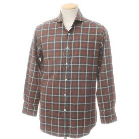【中古】ラルディーニ LARDINI コットン チェック ホリゾンタルカラー カジュアルシャツ ブラウン×グレー×ホワイト【サイズ38】【BRW】【S/S/A/W】【状態ランクC】【メンズ】【10602-955525】