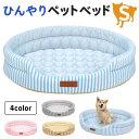 ひんやり ペット ベッド マット 夏用 犬 猫 冷感 パイル ストライプクール Sサイズ