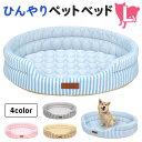 ひんやり ペット ベッド マット 夏用 犬 猫 冷感 パイル ストライプクール Lサイズ