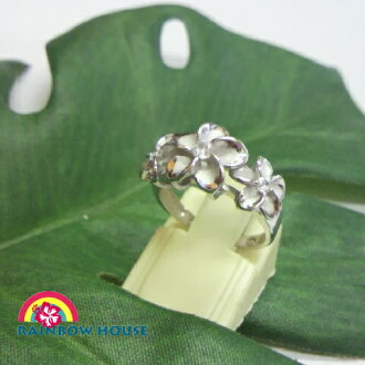 Hawaiian jewelry triple plumeria ring