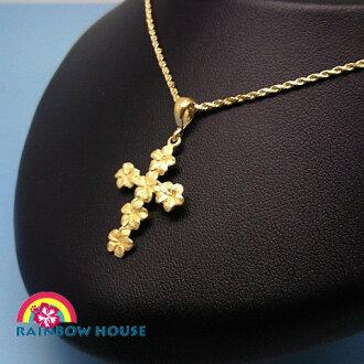 Cross of the Hawaiian jewelry K14 yellow gold frangipani