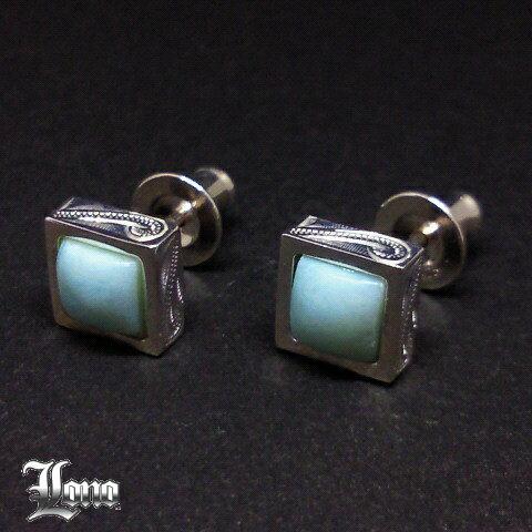 LONO : Square Larimar Stud Earrings(ロノ・ラリマー付き波のピアス)ハワイアンジュエリー【送料無料】