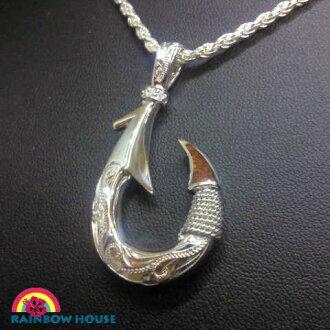Fish hook head L of Hawaiian jewelry silver 925 and Koa