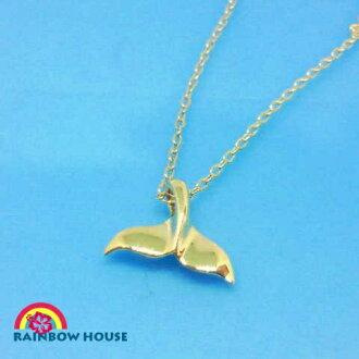 ホエールテールネックレス with the chain of the Hawaiian jewelry alamea brand K14 yellow gold