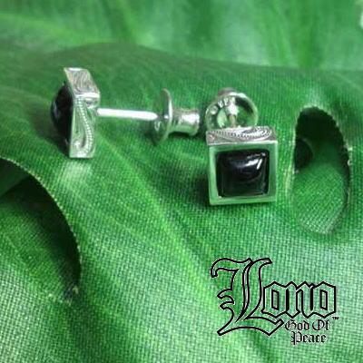 LONO : Square Blackstar Stud Earrings(ロノ・ブラックスター付き波のピアス)ハワイアンジュエリー【送料無料】
