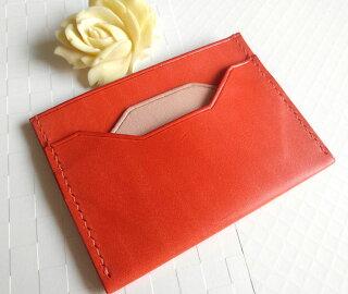 高級日本製ヌメ革メガネケースオレンジ色手縫いg1母の日誕生日記念日結婚式お祝いギフト
