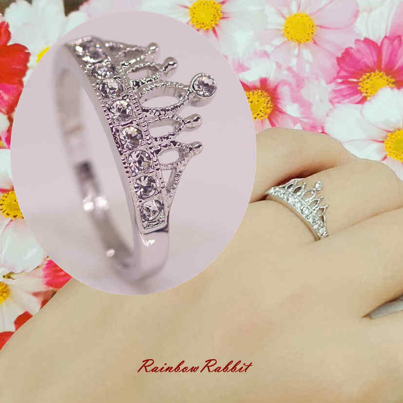 指輪 18K K18 18金 RGP プラチナ CZ ダイヤ キュービックジルコニア 王冠 リング yu1065e 母の日 誕生日 記念日