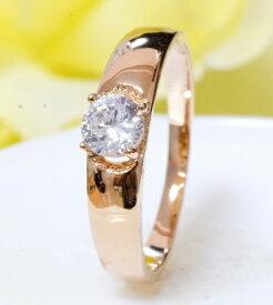 指輪18K K18 18金 RGP CZ ダイヤ キュービックジルコニア ゴールド 5mm1粒上品リング gu1144e 10倍ポイント対象