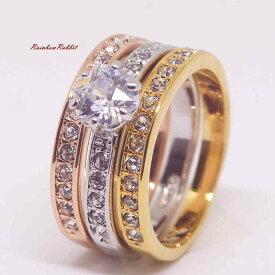 指輪 18K K18 18金 RGP ゴールド 高級 CZ 一粒 ハーフ エタニティ 3枚セット リング gu1378e 普通便 送料無料 高級 ダイヤ キュービックジルコニア 誕生日 記念 結婚式 夏
